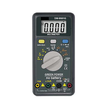 Lutron DM-9981G Green power multimeter (no battery, hybrid power, Patent)