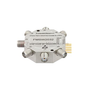 FairviewMicrowave  FMSW2032,SMA SP6T PIN Diode Switch Absorptive From (50 Ohm, 100MHz - 20 GHz, +27 dBm, SMA Female)
