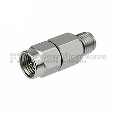 Fairview SA6S5W-10 10 dB Fixed Attenuator SMA Male To SMA Female Up To 6 GHz Rated To 5 Watts With Black Aluminum Heatsink Body