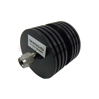 Fairview  SA4020-03 3 dB Fixed Attenuator 2.92mm Male To 2.92mm Female Up To 40 GHz Rated To 10 Watts With Black Aluminum Heatsink Body