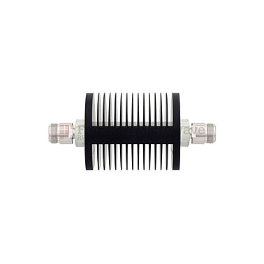 Fairview SA75DFDF25W-03 3 dB Fixed Attenuator 7/16 Female To 7/16 Female Up To 7.5 GHz Rated To 25 Watts With Black Aluminum Heatsink Body