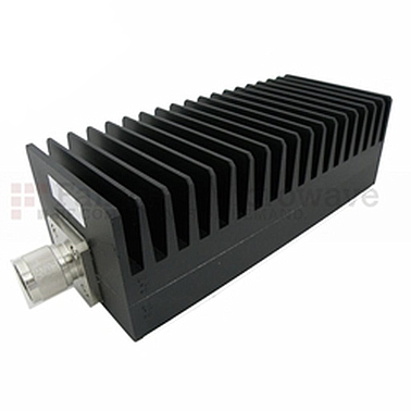Fairview SA3N1007-30  30 dB Fixed Attenuator N Male To N Female Up To 3 GHz Rated To 100 Watts With Black Aluminum Heatsink Body