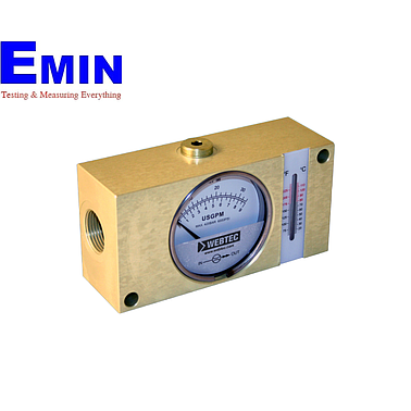 Webtec FI1500-200BSWT Hydraulic Brass In-line Flow Indicator (Water:50 US gpm;Oil:50 US gpm;5000 psi;with temp.)